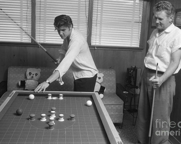 Elvis Presley Poster featuring the photograph Elvis Presley and Vernon Playing Bumper Pool 1956 by The Harrington Collection