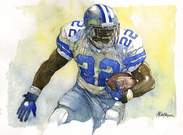 Emmitt Poster featuring the painting Emmitt Smith by Michael Pattison