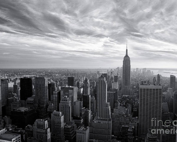 New York City Poster featuring the photograph Empire State Building And Midtown Manhattan Black And White by Sabine Jacobs