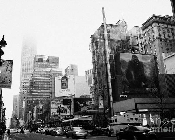 Usa Poster featuring the photograph empire state building shrouded in mist from west 34th Street and 7th Avenue King Kong movie poster by Joe Fox