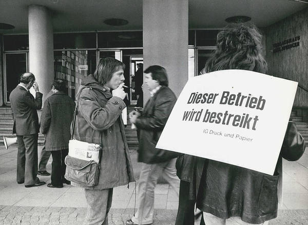 retro Images Archive Poster featuring the photograph Employees Of Printing - Offices On Strike Throughout by Retro Images Archive