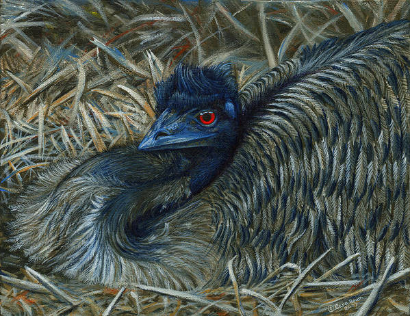 Emu Poster featuring the painting Emu Elegance by Cara Bevan