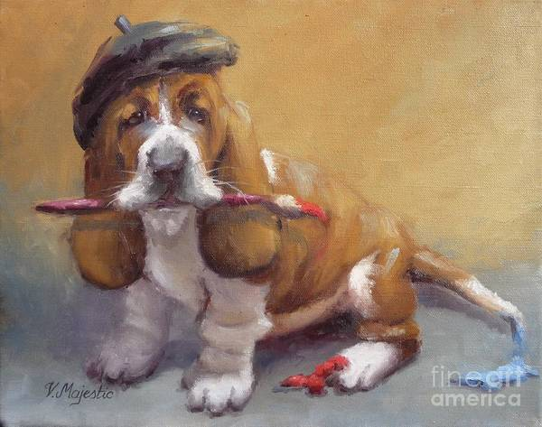 Basset Poster featuring the painting Enchanted Basset Hound Artist by Viktoria K Majestic