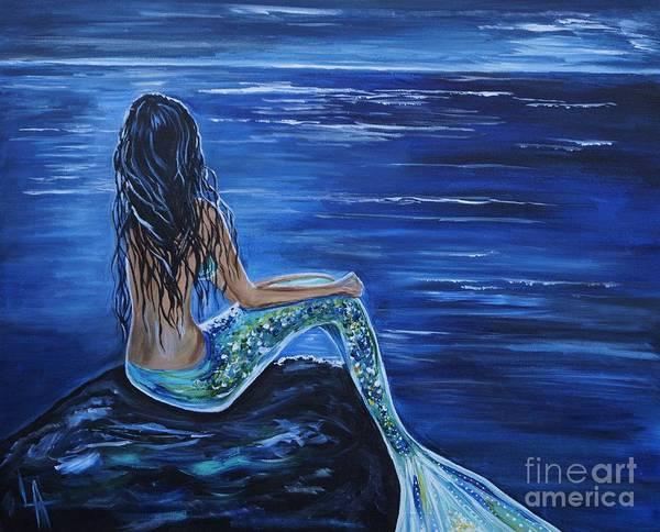 Mermaid Painting Poster featuring the painting Enchanting Mermaid by Leslie Allen