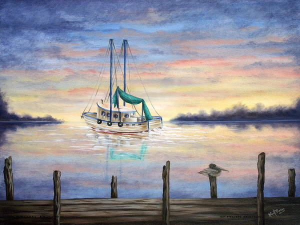 Seascape Poster featuring the painting End Of The Day by Ruth Bares