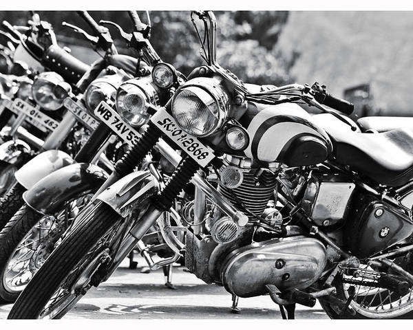 Black And White Poster featuring the photograph Enfield Motorcycles by Sonam Phintso Bhutia
