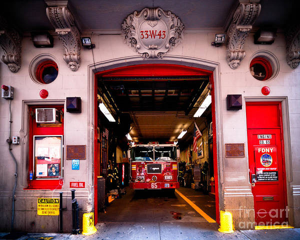 Engine Companyy Poster featuring the photograph Engine Company 65 Firehouse Midtown Manhattan by Amy Cicconi