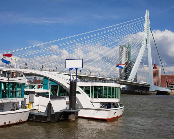 Rotterdam Poster featuring the photograph Erasmus Bridge In Rotterdam Downtown by Artur Bogacki