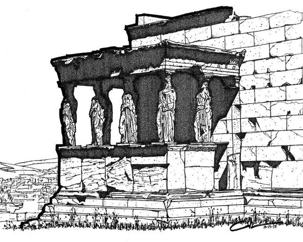 Sketch Poster featuring the drawing Erechtheion Caryatids by Calvin Durham
