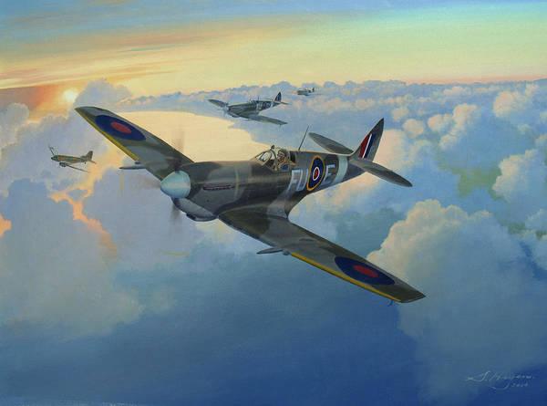 Spitfire Poster featuring the painting Escort Duty by Steven Heyen