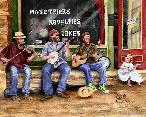 Banjo Poster featuring the painting Eureka Springs Novelty Shop String Quartet by Sam Sidders