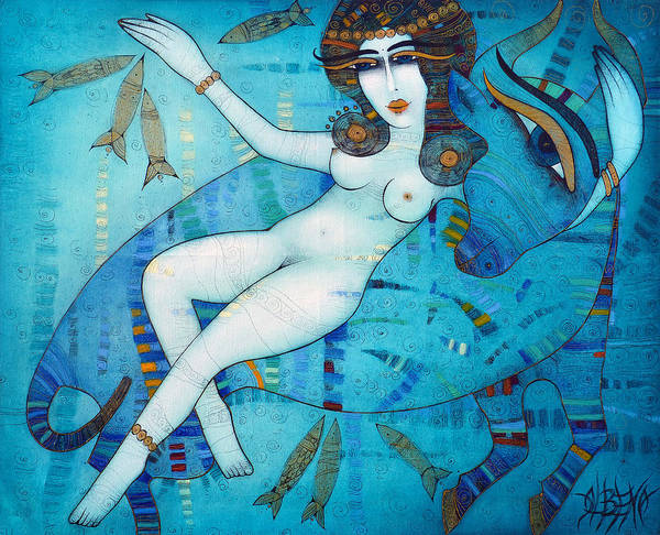 Blue Poster featuring the painting Europa by Albena Vatcheva