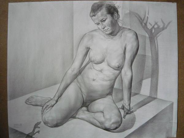 Nude Poster featuring the drawing Eva. Light And Shadows' Borderline by Laszlo Pal