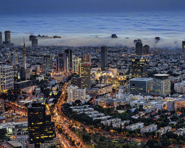 Israel Poster featuring the photograph Evening City Lights by Ron Shoshani