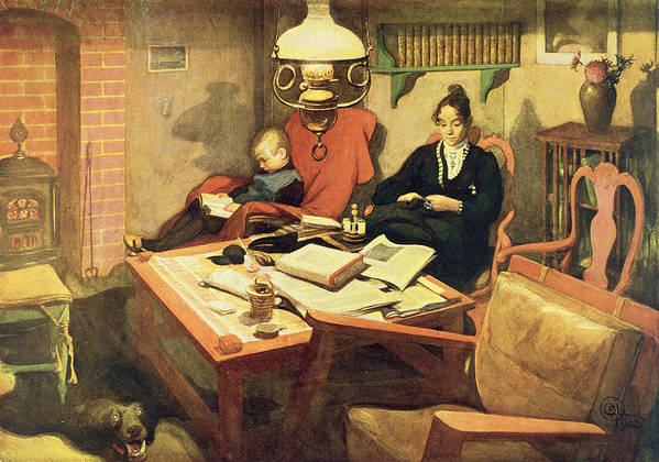 Reading Gasolier Poster featuring the painting Evening Light, Pub. In Lasst Licht by Carl Larsson