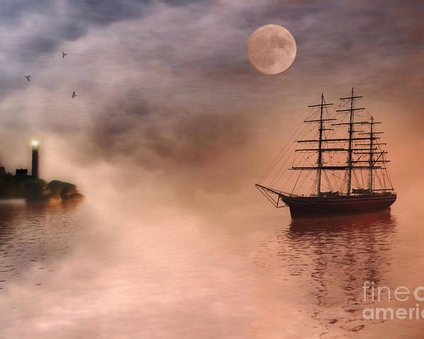 Sailing Ship Poster featuring the painting Evening Mists by John Edwards