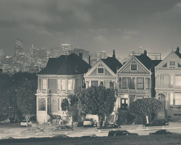 Alamo Square Poster featuring the photograph Evening Rendezvous by Laurie Search