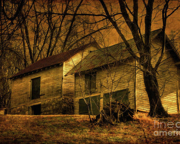 Barn Poster featuring the photograph Evening Twilight Fades Away by Lois Bryan