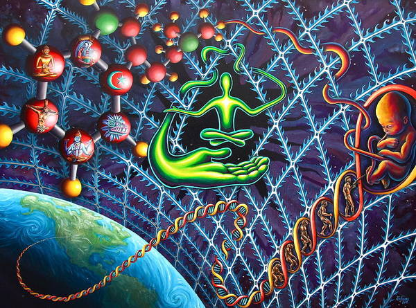 Psychedelic Poster featuring the painting Evolution Of The Spirit by Jim Figora
