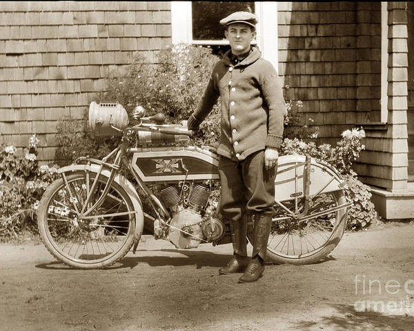 Excalibur Motorcycle Poster featuring the photograph Excalibur Motorcycle California Circa 1915 by California Views Archives Mr Pat Hathaway Archives