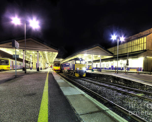 Exeter Poster featuring the photograph Exeter St Davids By Night by Rob Hawkins