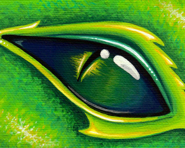Green Dragon Poster featuring the painting Eye Of Cepheus by Elaina Wagner