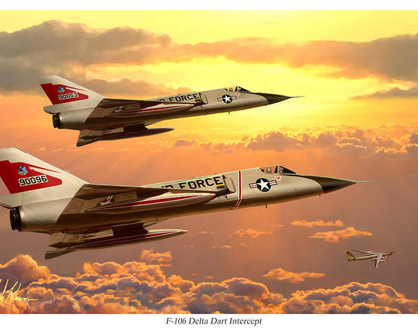 Aviation Poster featuring the painting F-106 Delta Dart Intercept by Mark Karvon