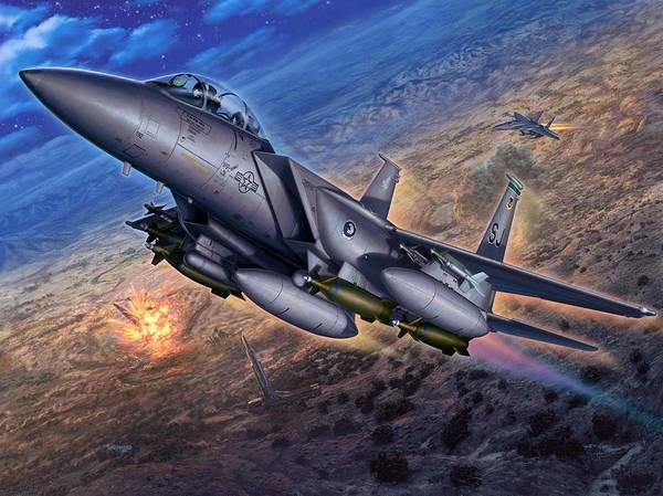 F-15 Poster featuring the digital art F-15e Strike Eagle Scud Busting by Stu Shepherd