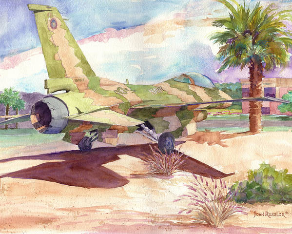 Aircraft Poster featuring the painting F 16 And Desert Sun. by John Ressler