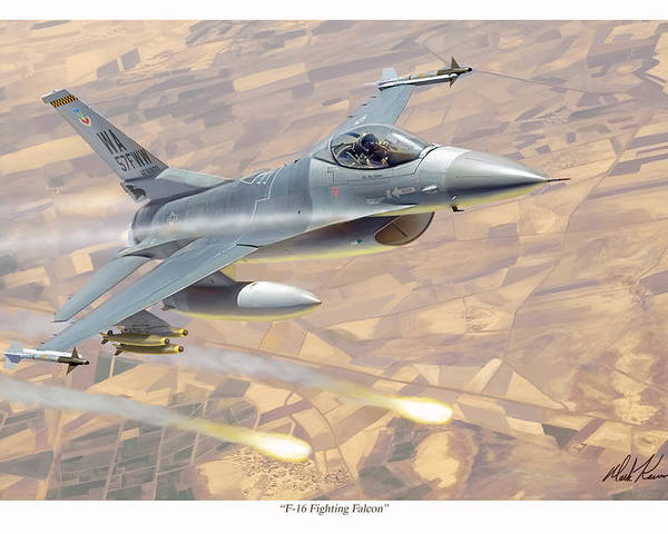 Aviation Poster featuring the painting F-16 Fighting Falcon by Mark Karvon