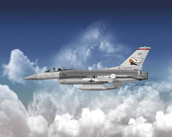 General Dynamics Poster featuring the digital art F-16c Falcon by Arthur Eggers