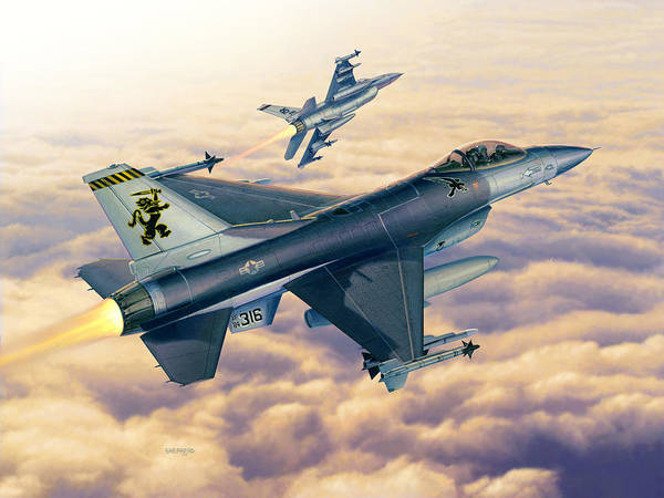 F-16 Poster featuring the painting F-16c Sunset Falcons by Stu Shepherd