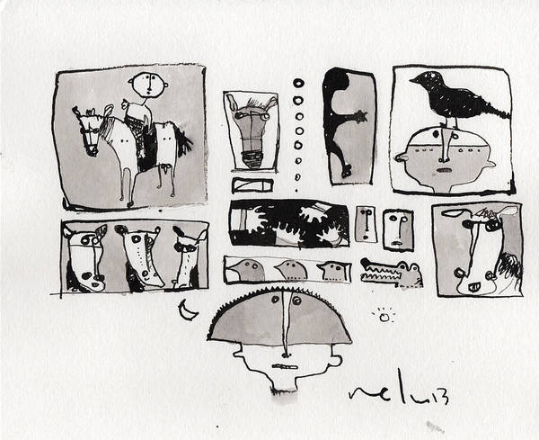 Narrative Poster featuring the drawing Fabula No. 1 by Mark M Mellon