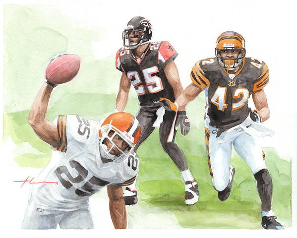 <a Href=http://miketheuer.com Target =_blank>www.miketheuer.com</a> Falcons Bengals Football Watercolor Portrait Poster featuring the drawing Falcons Bengals Football Watercolor Portrait by Mike Theuer
