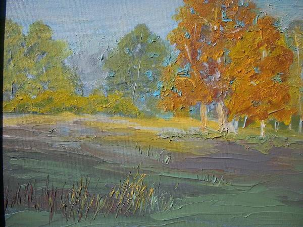 Landscape Poster featuring the painting Fall Field by Dwayne Gresham