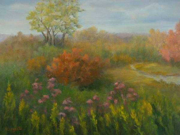 Pamela Allegretto Poster featuring the painting Fall In New England by Pamela Allegretto
