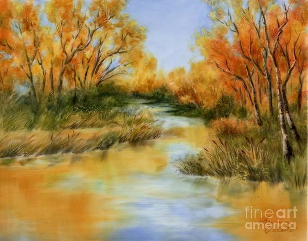 Landscape Poster featuring the painting Fall River by Summer Celeste