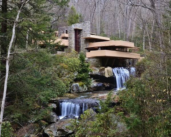 Falling Water Poster featuring the photograph Falling Water By Frank Lloyd Wright by David Knowles