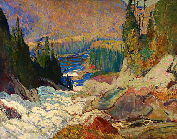 Painting Poster featuring the painting Falls - Montreal River by Mountain Dreams