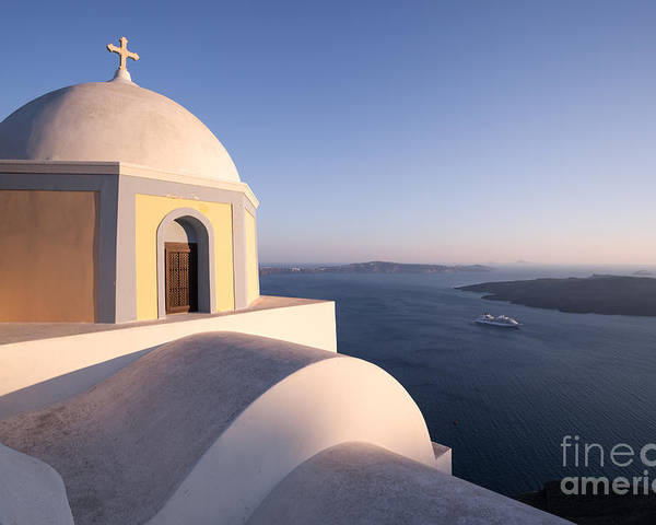 Church Poster featuring the photograph Famous Orthodox Church In Santorini Greece At Sunset by Matteo Colombo