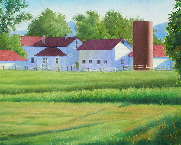 Watercolor Poster featuring the painting Farm At Willow Creek by Daniel Dayley