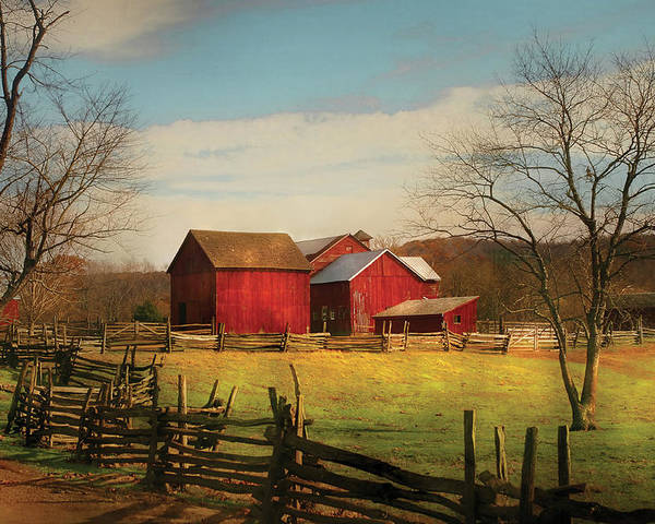 Savad Poster featuring the photograph Farm - Barn - Just Up The Path by Mike Savad