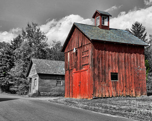 Paul Ward Poster featuring the photograph Farm - Barn - Weathered Red Barn by Paul Ward