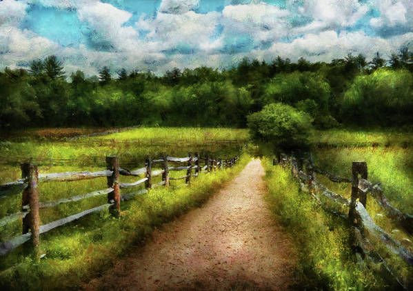 Suburbanscenes Poster featuring the photograph Farm - Fence - Every Journey Starts With A Path by Mike Savad