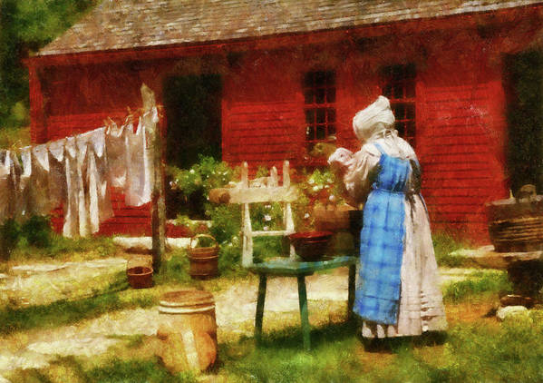 Suburbanscenes Poster featuring the photograph Farm - Laundry - Washing Clothes by Mike Savad