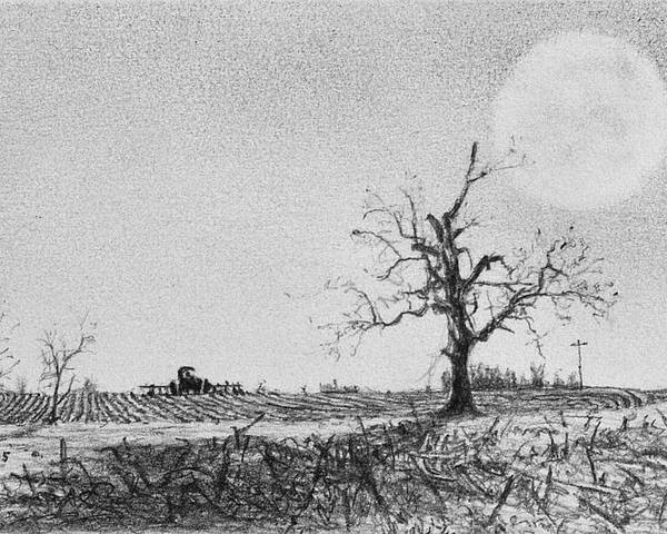 Poster featuring the drawing Farm Machinery At Moonlight by Robert Tracy
