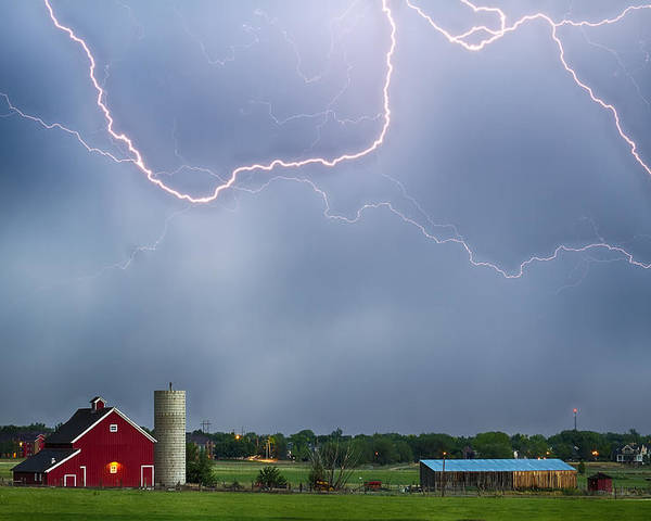 Lightning Poster featuring the photograph Farm Storm Hdr by James BO Insogna