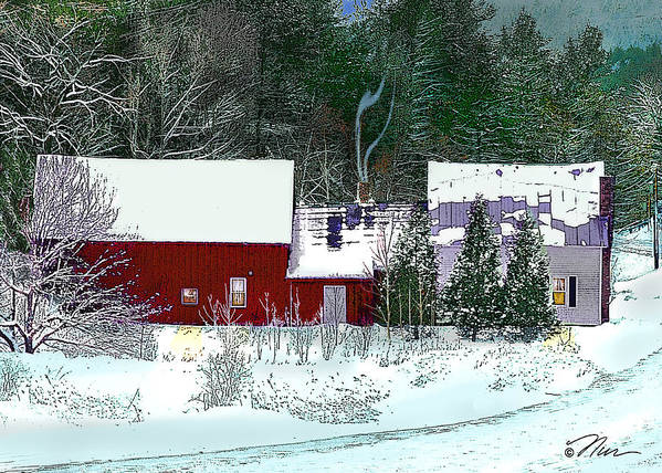 Vermont Poster featuring the digital art Farmhouse In Winter by Nancy Griswold