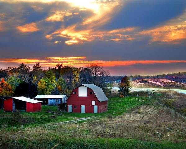 Farms Poster featuring the photograph Farmstead At Sunset by Julie Dant