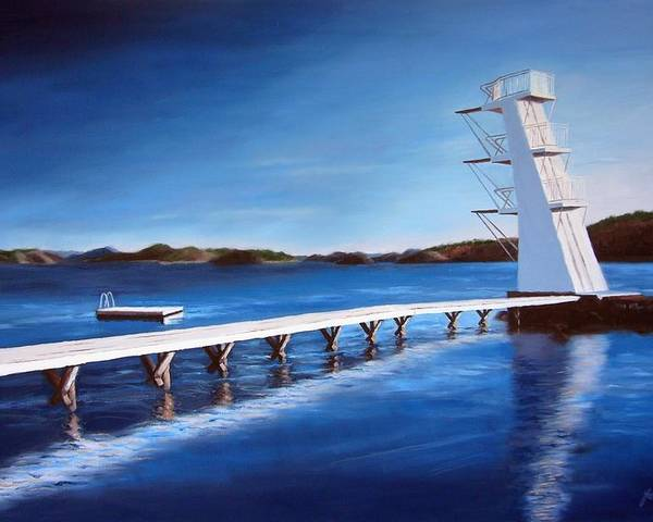 Diving Board Poster featuring the painting Farsund Badehuset On A Sunny Day by Janet King